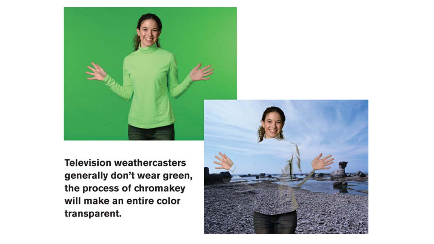 Green green example with woman blending into background with green shirt