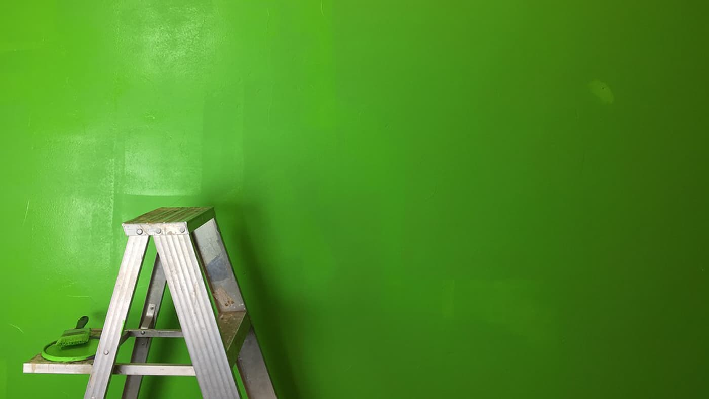 Wall painted green to be a green screen