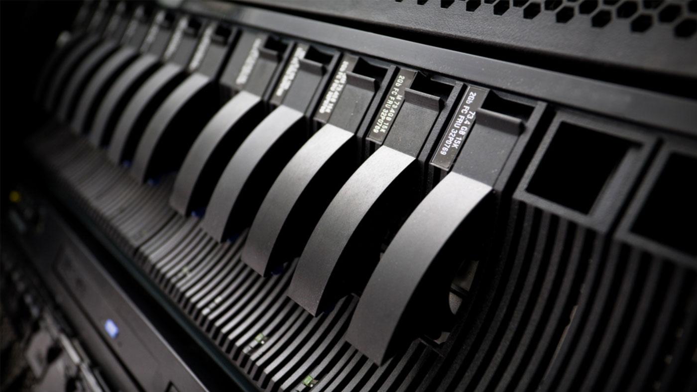 Photo of server hard drive array