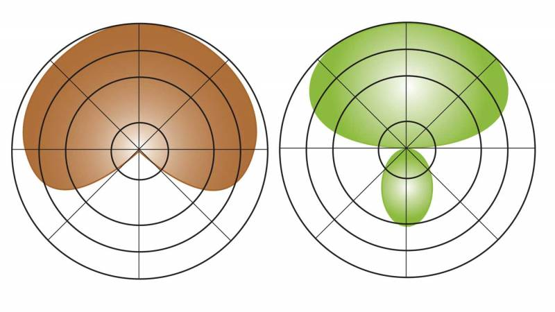 Diagram showing Cardioid and Hypercardioid pickup patterns