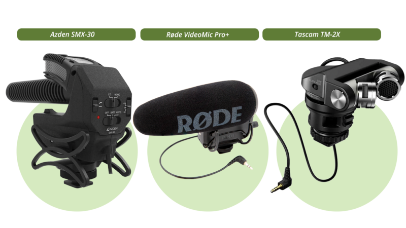 Azden SMX-30, Røde Video Mic Pro+ and Tascam TM-2X