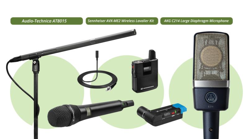 Audio-Technica AT8015, Sennheiser AVX-ME2 Wireless Lavalier and AKG C214 Large Diaphragm Microphone