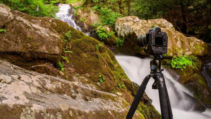 Camera on a tripod filming
