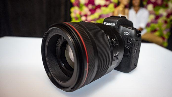 Canon EOS R on a white table