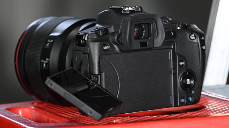 EOS R with rear display folded out