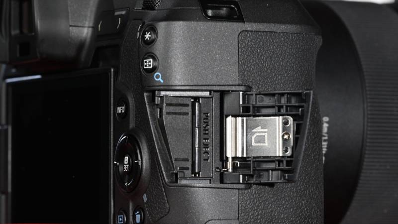 The SD card slot on the EOS R