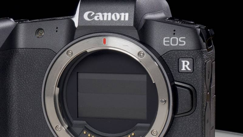 EOS R without a lens, showing the sensor cover
