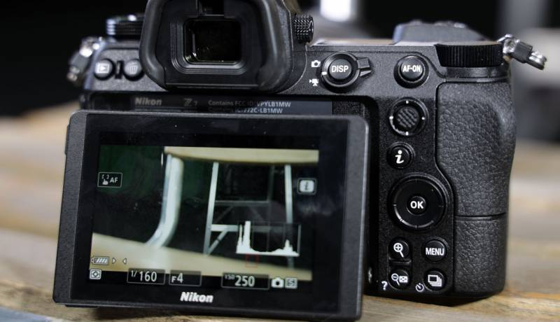 Close up showing the articulation of the Nikon Z7's rear display