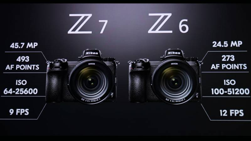graphic showing the differences between the Nikon Z6 and Z7