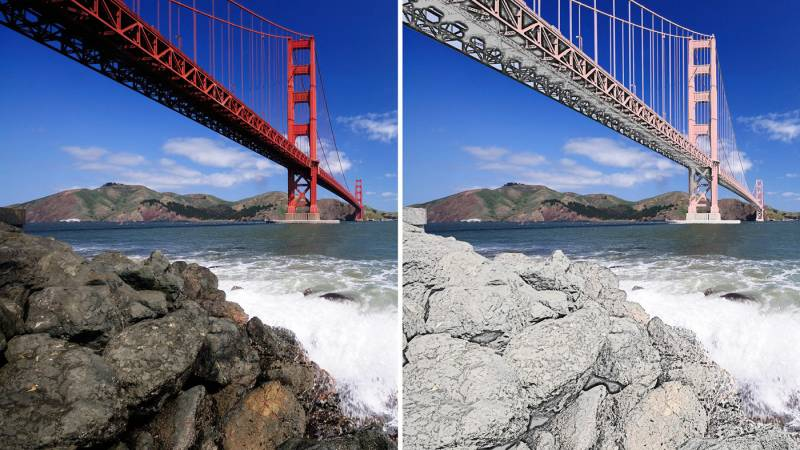 Two images of a bridge and rocks. One is a normal photo, the other is half sketched