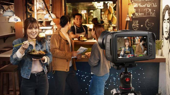 Blackmagic Pocket Cinema Camera 4K recording in restaurant
