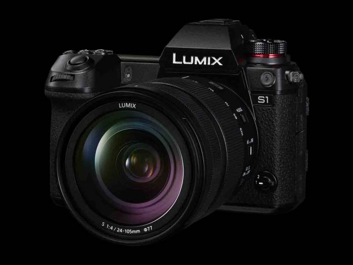 Panasonic LUMIX S1 on black background