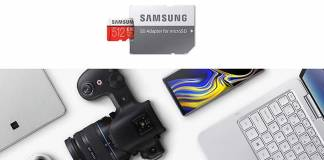 Samsung's MicroSD EVO Plus next to camera, smartphone, laptop, and a tablet