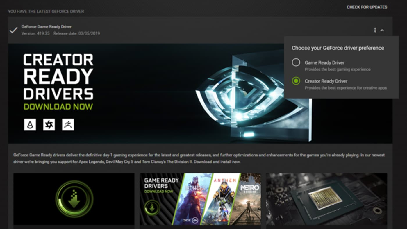 Creator Ready Driver page on nvidia.com
