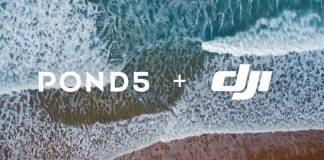 Pond5 and DJI logos over a beach