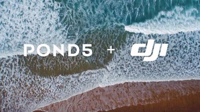 Pond5 and DJI logos over a beach