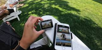GroPro and smartphone displaying the same footage