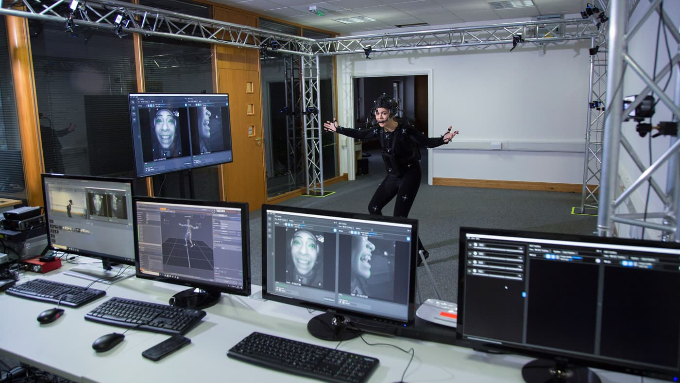 Actress acting in a motion capture suit