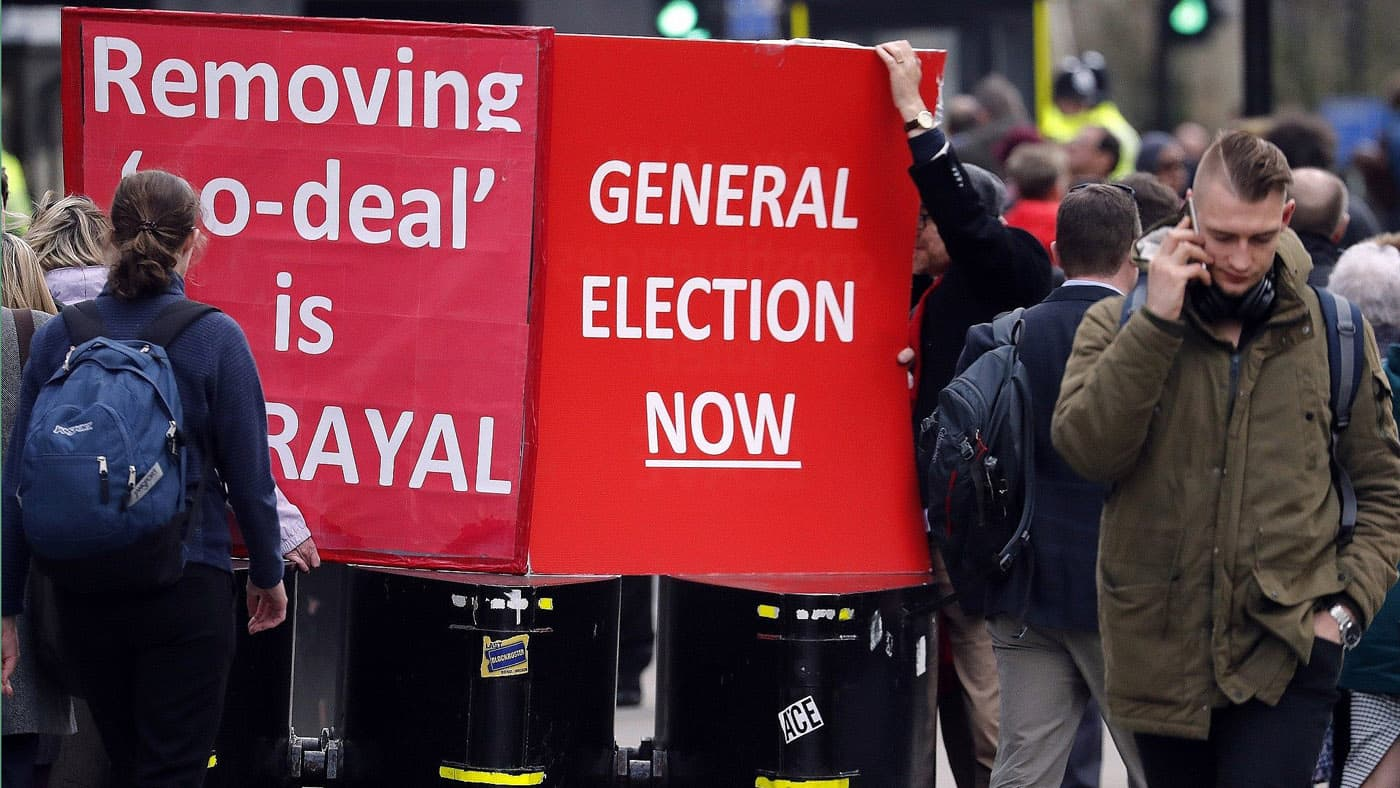 Protesters demanding a general election