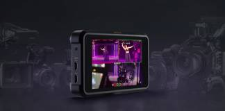 Atomos Shogun 7 with purple background