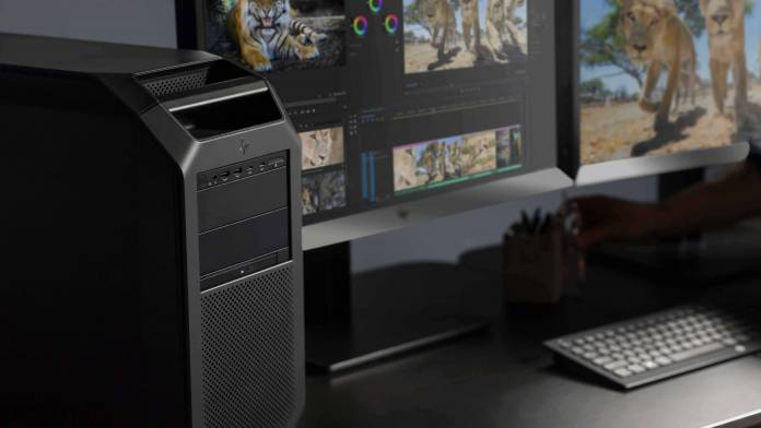 HP Z8 G4 Desktop on desk with monitor in the background