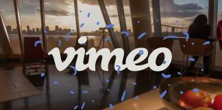 Vimeo logo over sunset