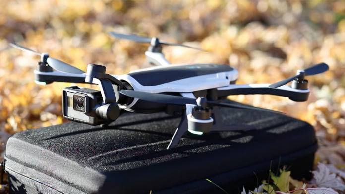 GoPro Karma drone on a case outside