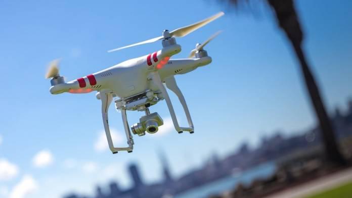 Drone flying near city