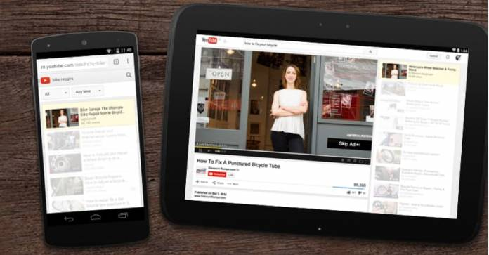 YouTube video displaying on tablet and phone