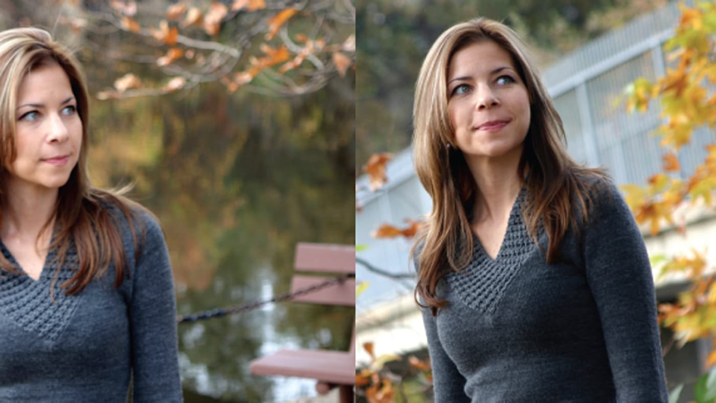 Side by side images of woman