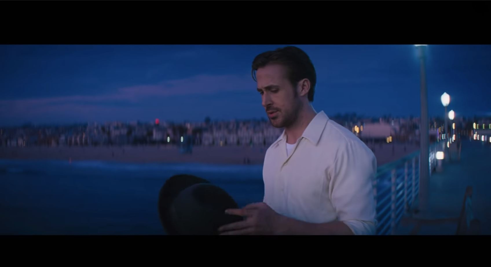 Depth in a 2D image - Ryan Gosling framed up with leading lines