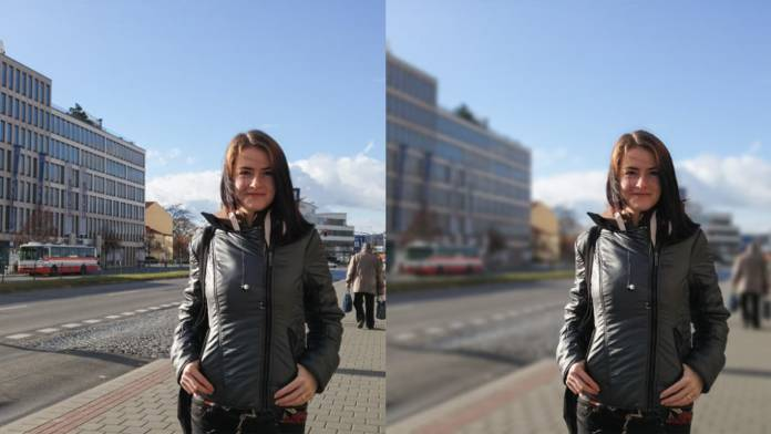 Side by side images of woman with city backgrounds