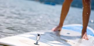 Insta360 Go on a surfboard