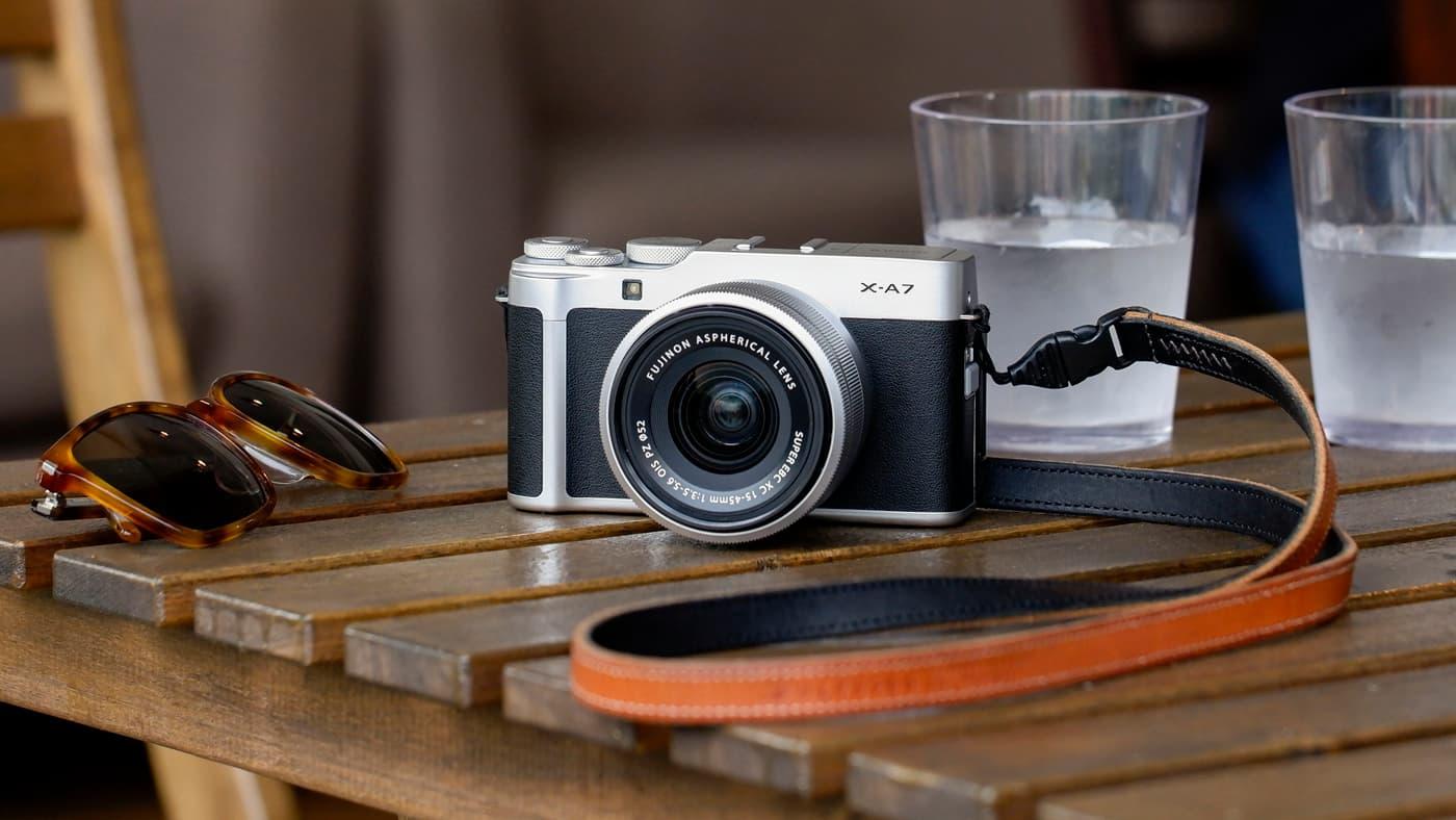Fujifilm X-A7 on a table