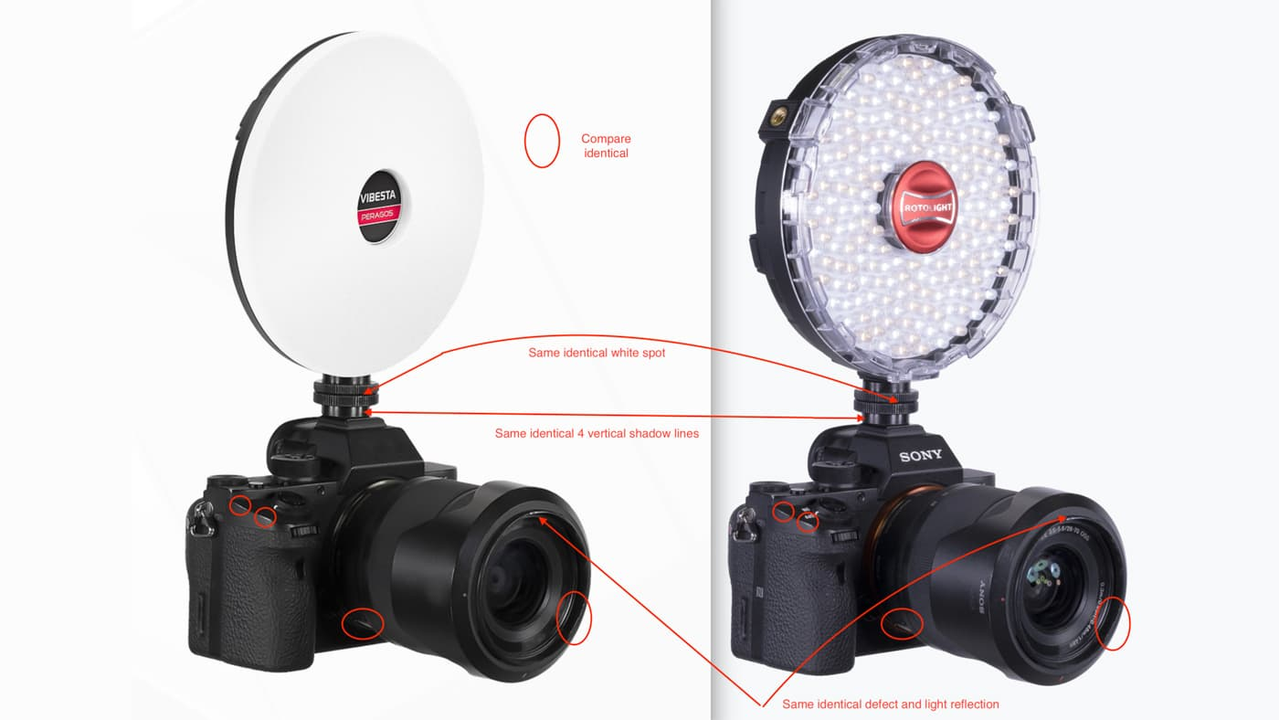 Rotolight claims Vibesta altered their NEO line product images