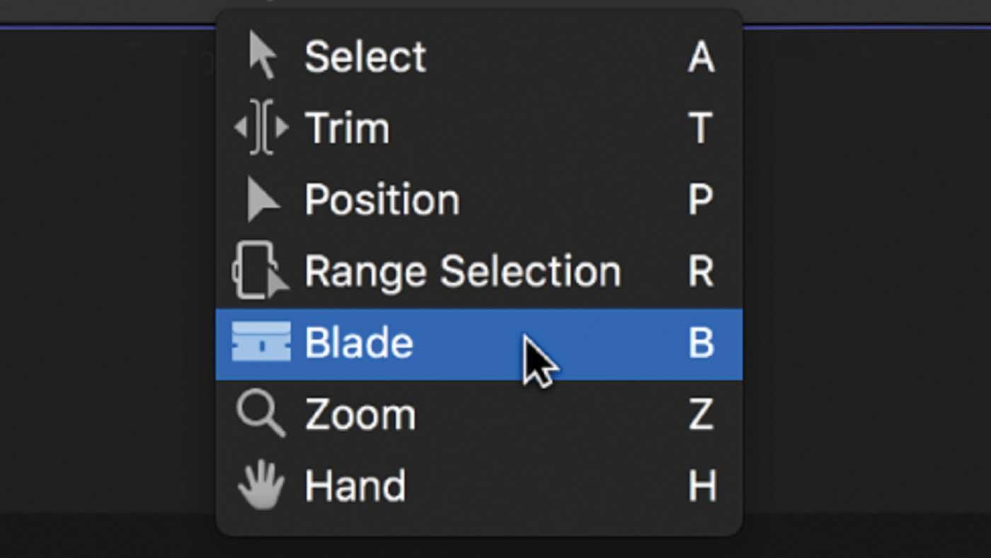 Editing drop down menu showing the blade tool.