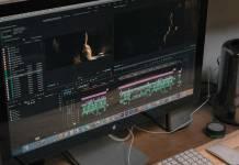 Desktop computer with editing interface.