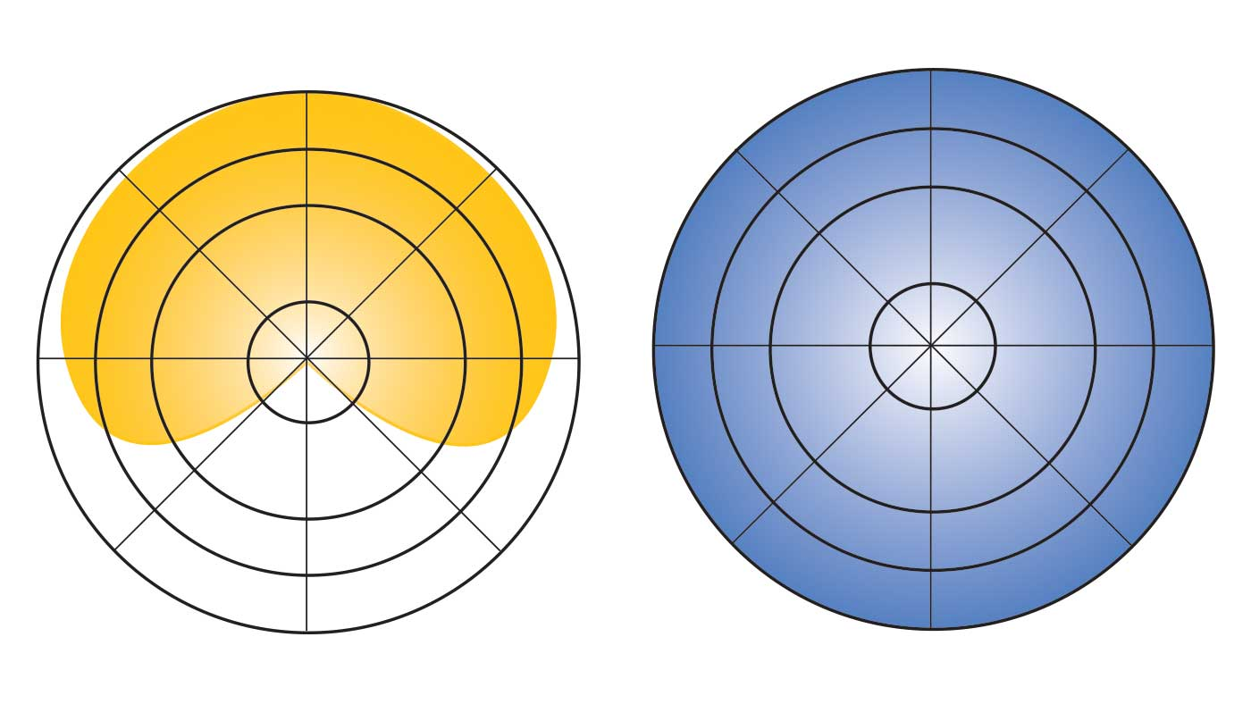 diagram of cardioid and omnidirectionl pickup patterns