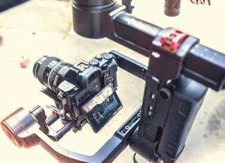 Camera on a hand held stabilizer