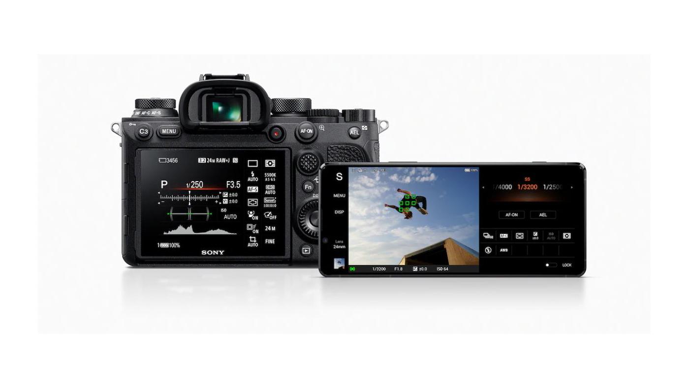 Sony Xperia 1 II next to mirrorless camera