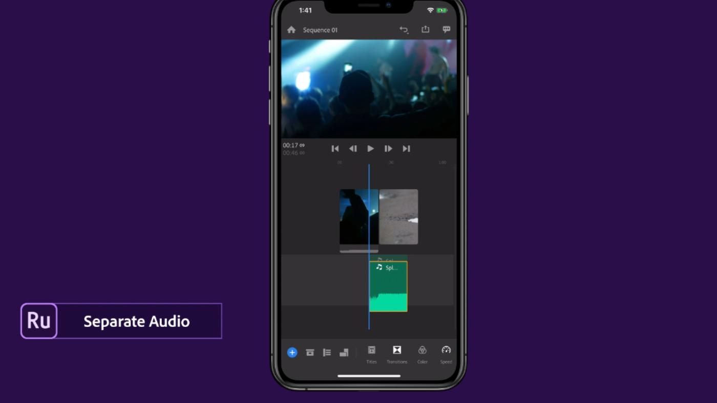 Audio track in Adobe Premiere Rush