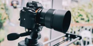 sony camera on slider with selective focus