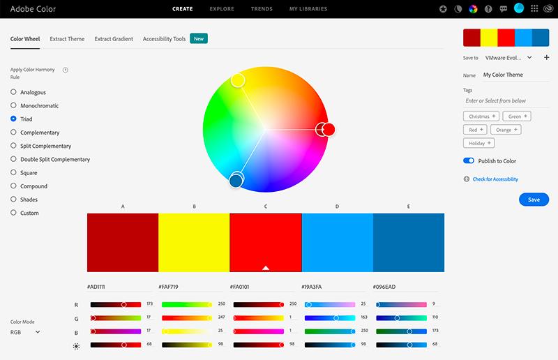 Adobe Color Triad Wheel