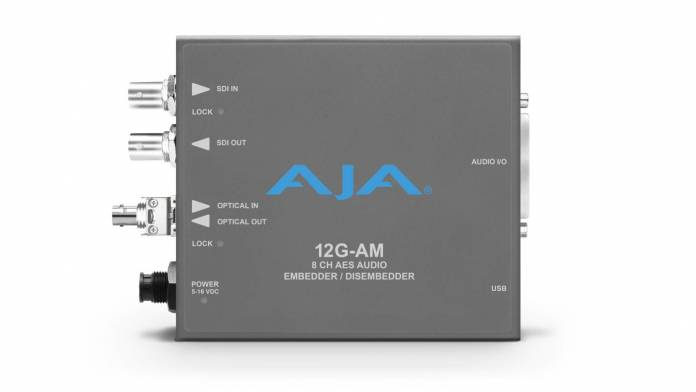 AJA 12G-SDI eight-channel AES audio embedder/disembedder converter