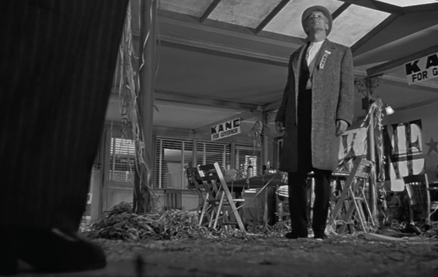 Example of a low angle shot from Citizen Kane