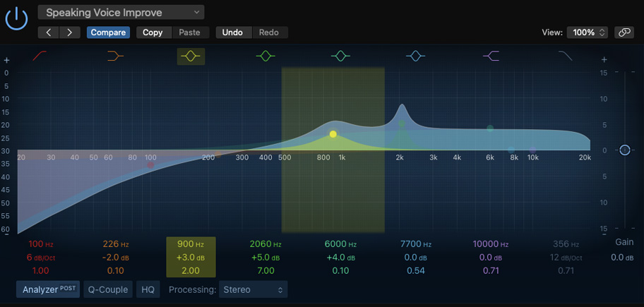 Logic Pro's parametric EQ. Notice the filter type icons along the top.