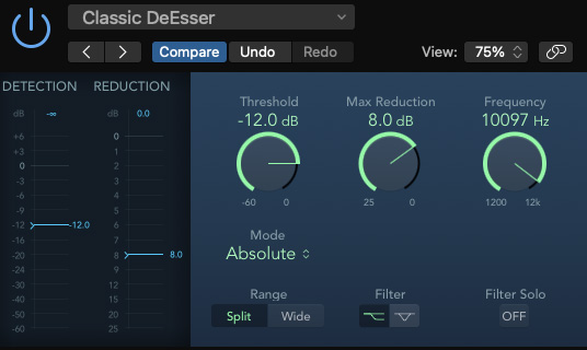 Logic Pro's DeEsser2 plugin. Select a threshold level, target frequency, and reduce!