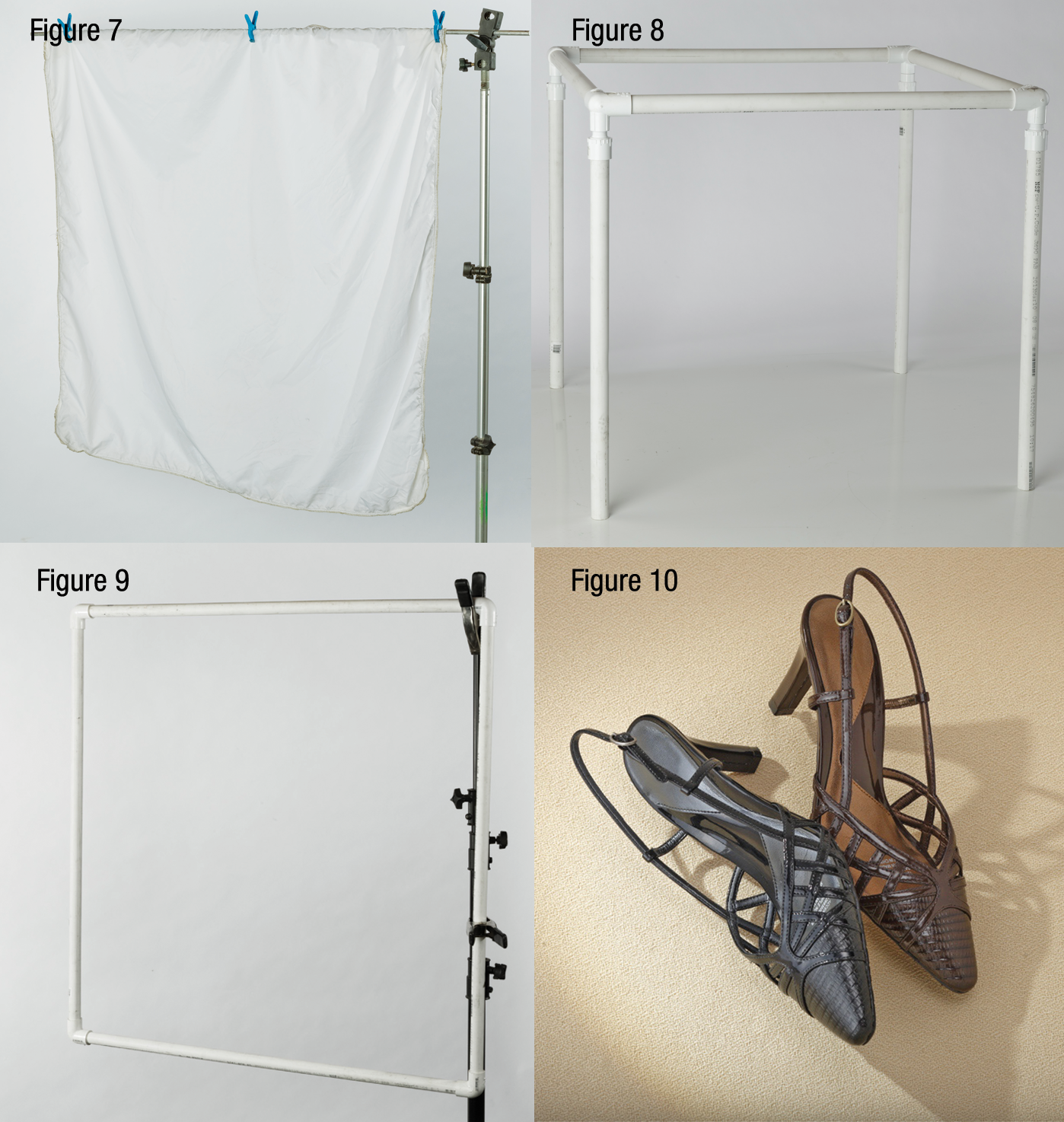 Example of a simple PVC and scrim setup [Figs. 7-9], and the final example of shoes [Fig. 10] with nice shadows.
