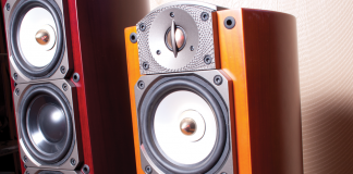 close up shots of two large high-end audio speakers