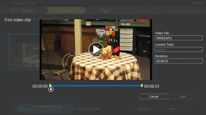 Screen shot of Cyberlink PowerDirector's interface